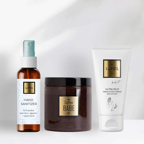 Coffe Body Scrub And Hand Sanitizer And Hand And Foot Cream Natural Cosmetics Brand La Piel