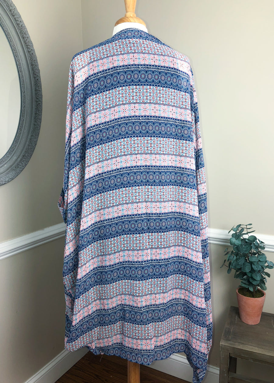 Plus Size 1X-3X 'Cool Air' Aztec Stripe Printed Kimono
