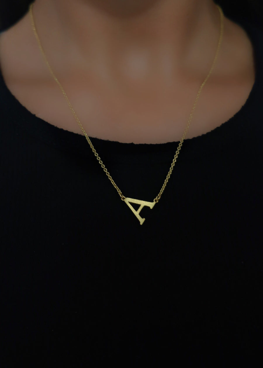 Gold Angled Monogram Necklace