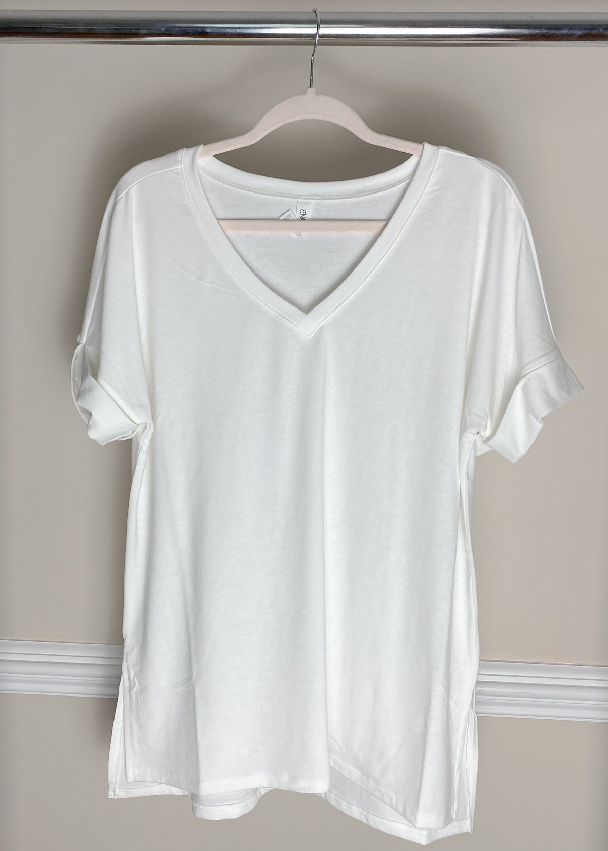 'Roll With It' Ivory Rolled Sleeve Boyfriend V-Neck Tee