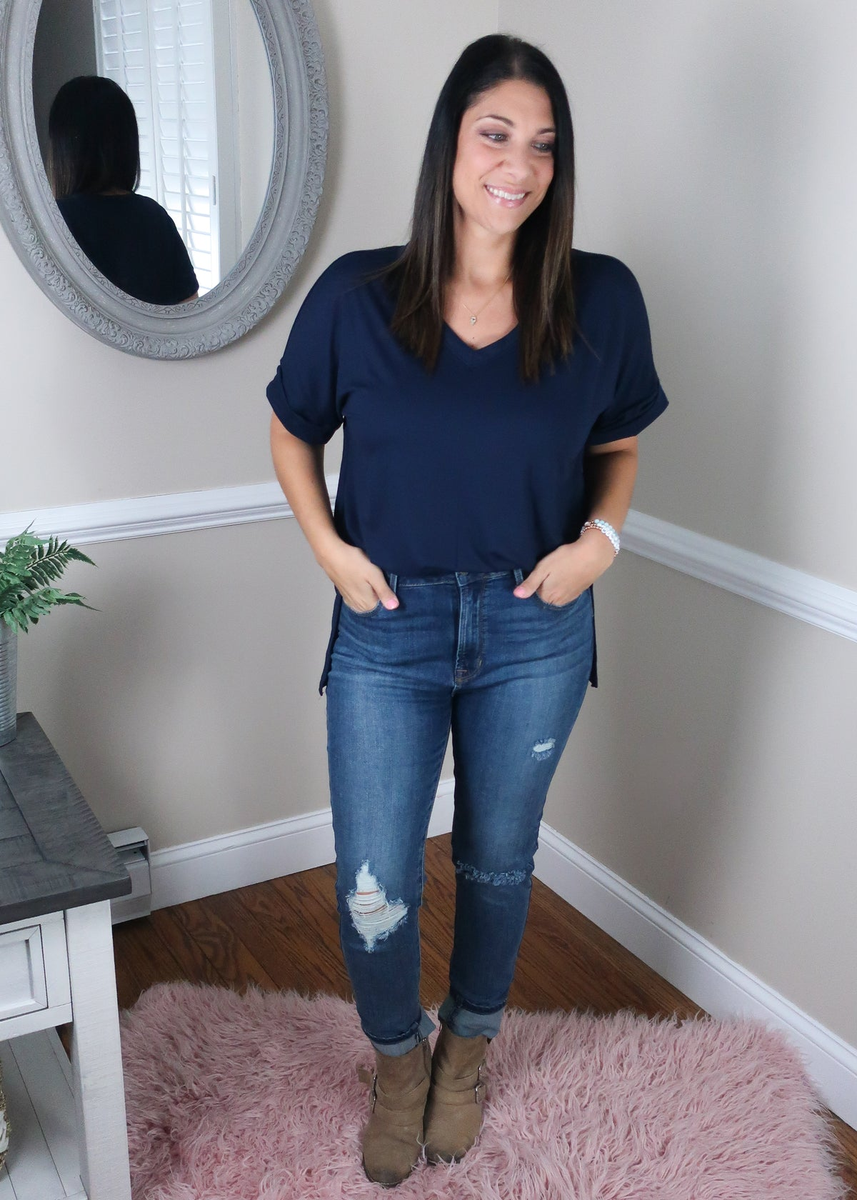 'Roll With It' Navy Rolled Sleeve Boyfriend V-Neck Tee