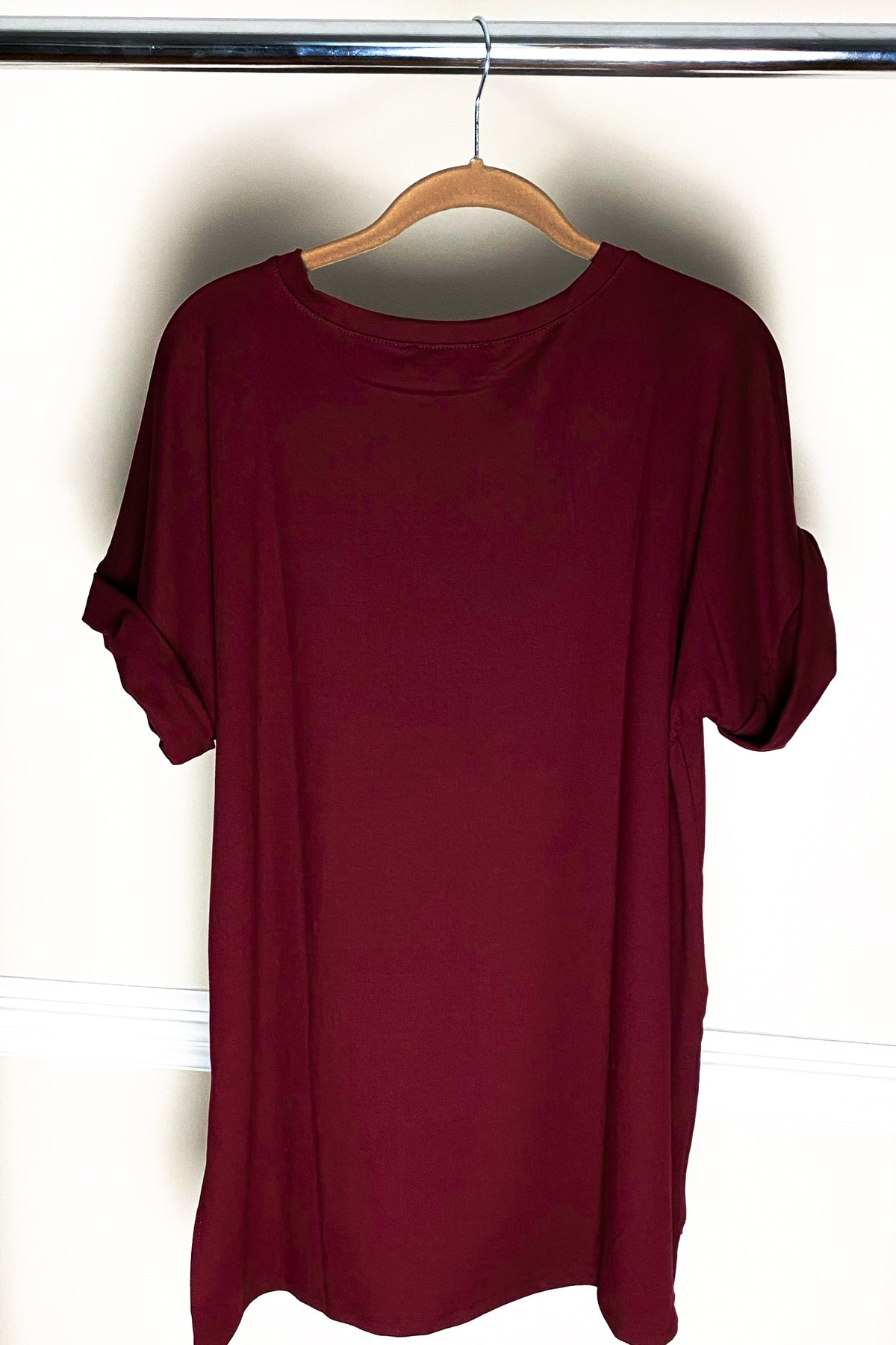 'Roll With It' Deep Wine Rolled Sleeve Boyfriend V-Neck Tee
