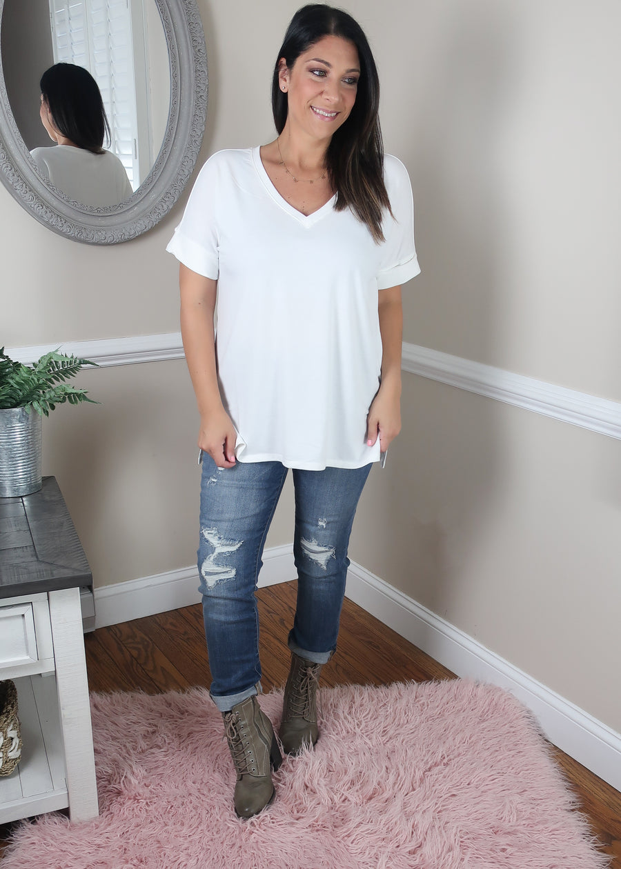 'Roll With It' Ivory Rolled Sleeve Boyfriend V-Neck Tee-Cali Moon Boutique, Plainville Connecticut