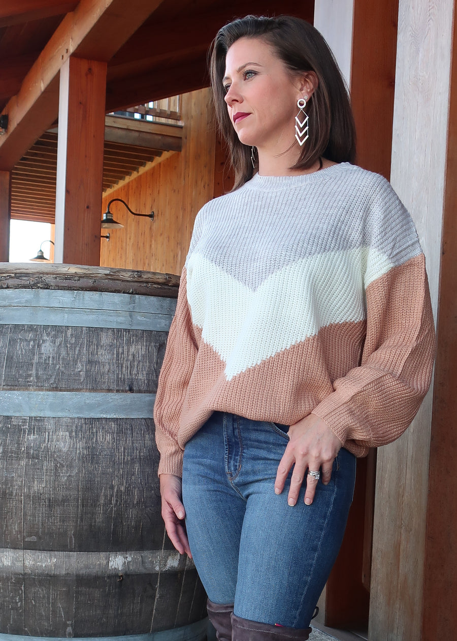 Plus Size 1X-3X  'Toasted Almond' Chevron Sweater