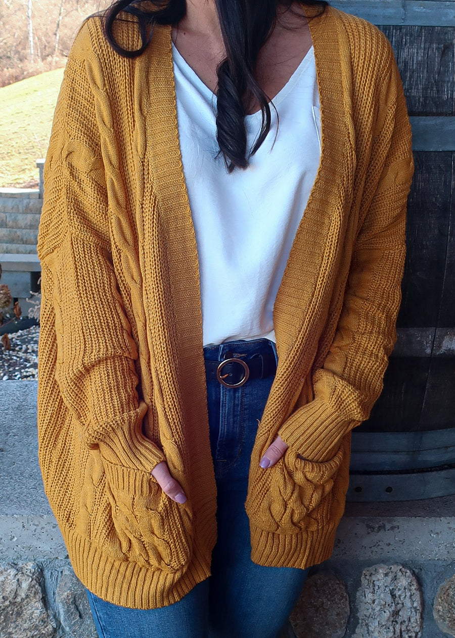 'Sunsets' Mustard Cable Knit Cardigan