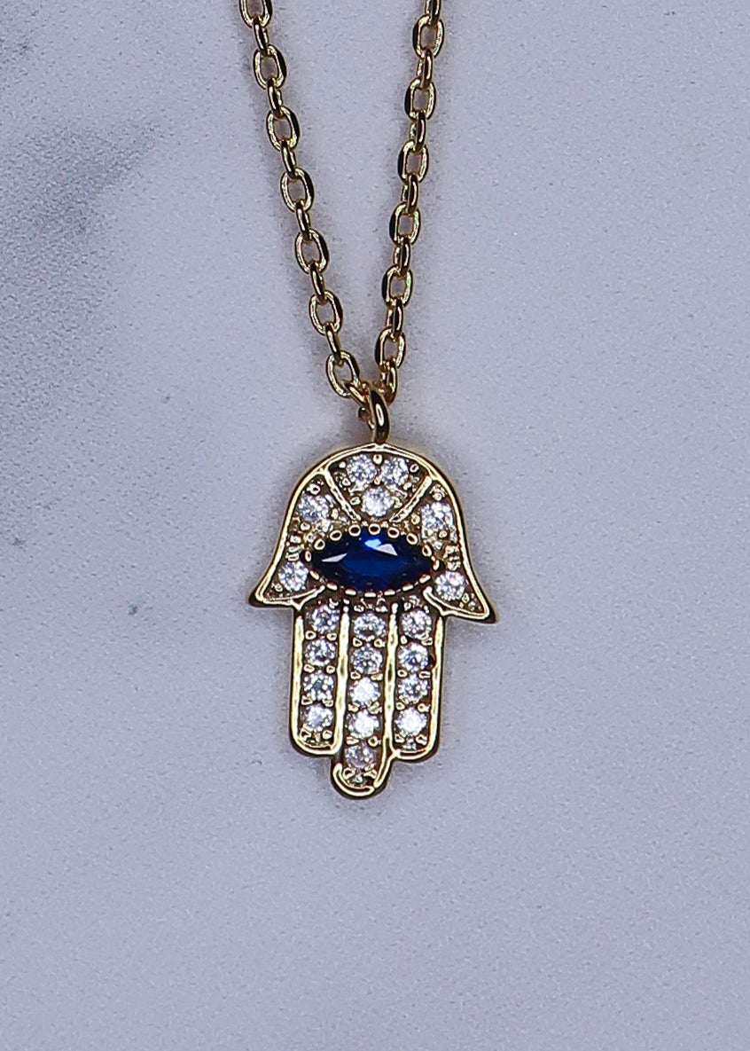 Mini CZ Hamsa Necklace with Blue Stone