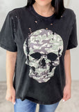 'Combat' Vintage Black Distressed Camo Skull Tee-The camo filled skull gives this vintage tee even more of an edge! The perfectly placed distressing gives it all the