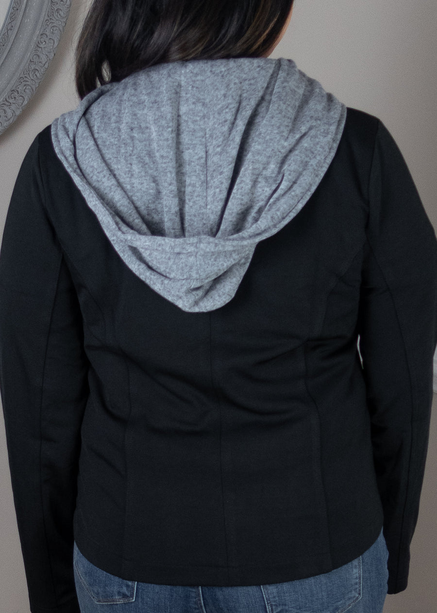 Black Knit Jacket with Removable Hood