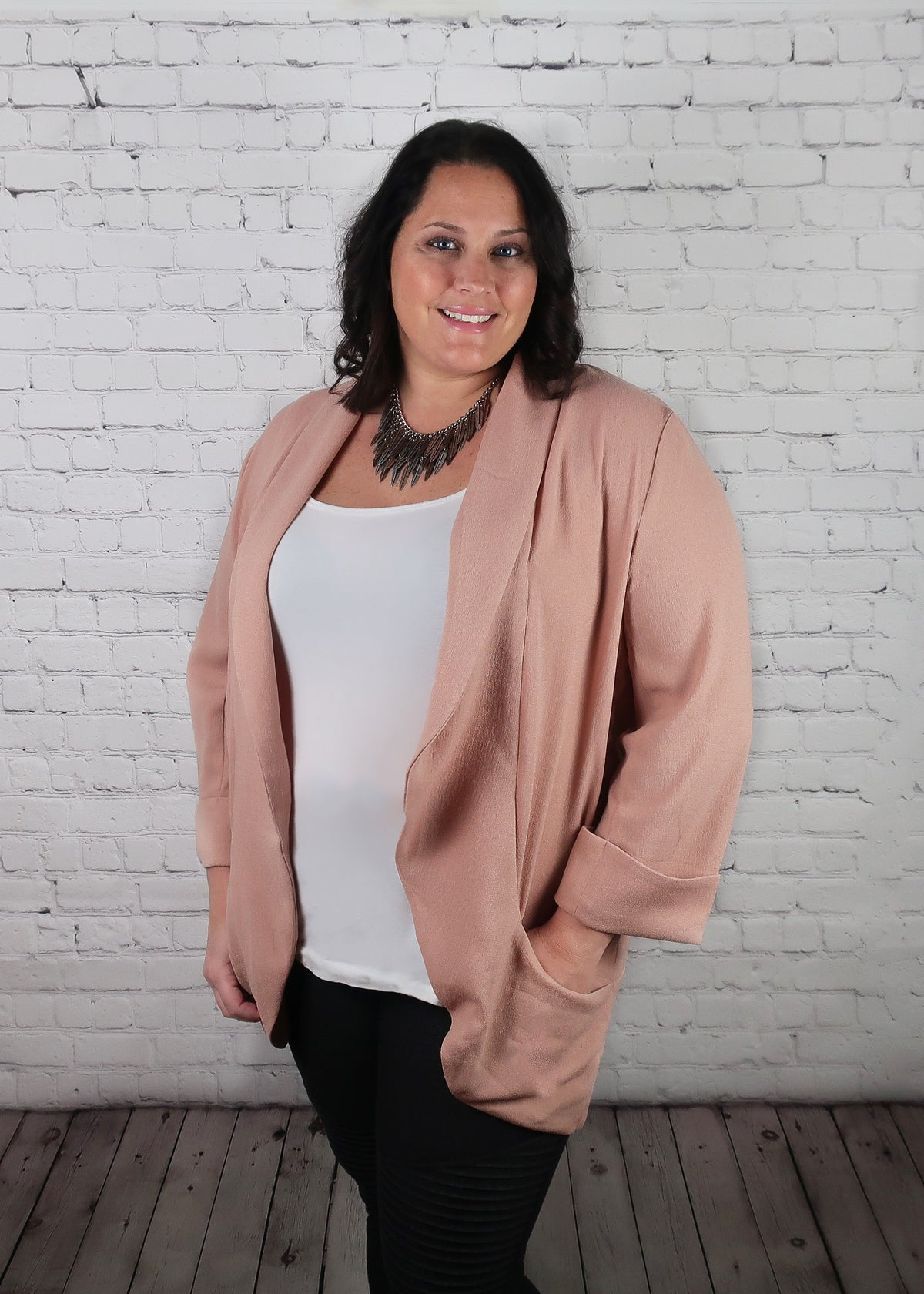 Plus Size 1X-3X 'Make Me Blush' Shawl Collar Blazer