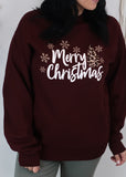 'Merry Christmas' Deep Burgundy Sweatshirt