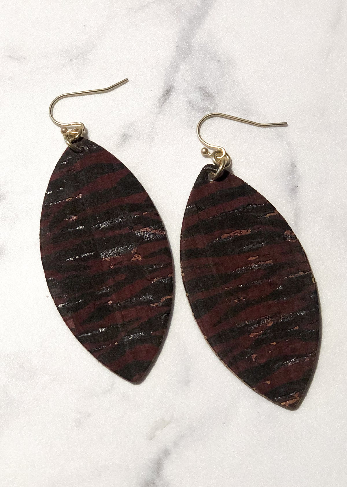 Burgundy/Black Zebra Stripe Cork Earrings-Cali Moon Boutique, Plainville Connecticut