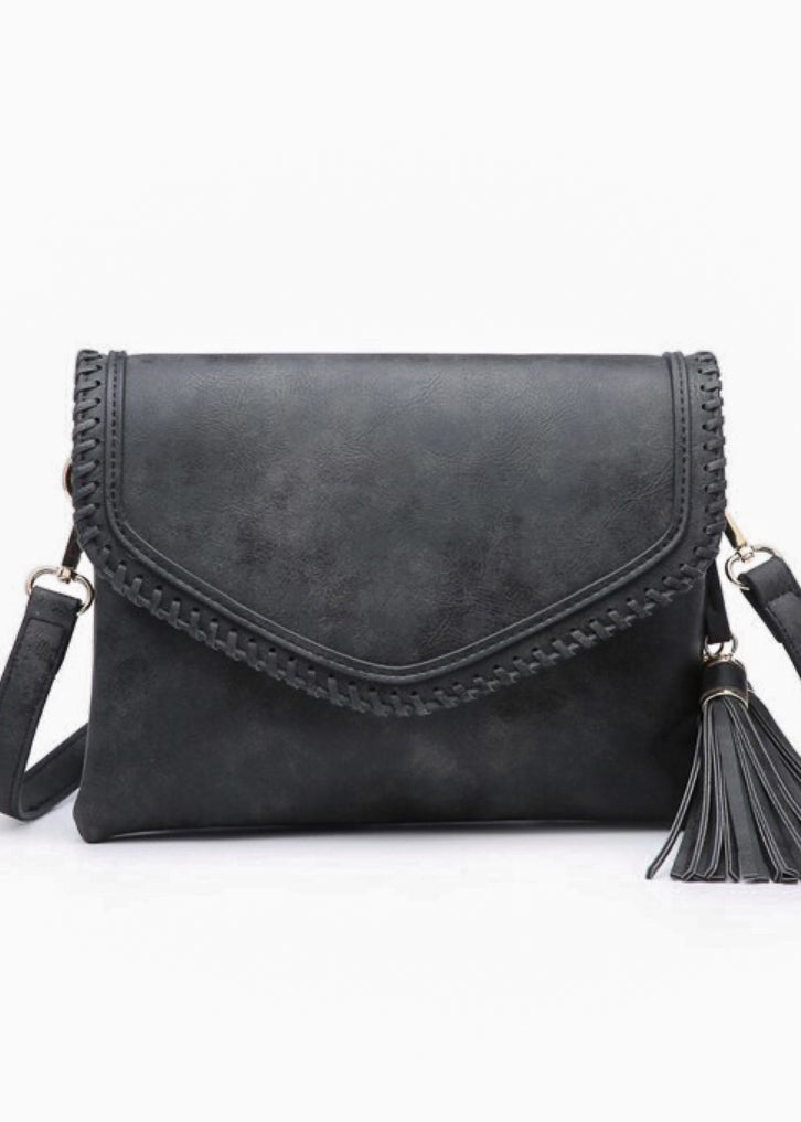 Charcoal Faux Leather Whipstitch Crossbody Bag
