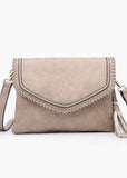 Sand Faux Leather Whipstitch Crossbody Bag