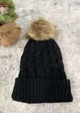 3 Colors Available-Twist Cable Knit Pom Pom Beanie-Cali Moon Boutique, Plainville Connecticut