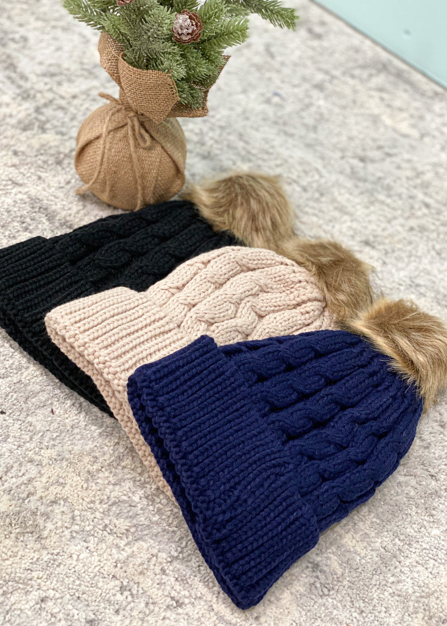 3 Colors Available-Twist Cable Knit Pom Pom Beanie