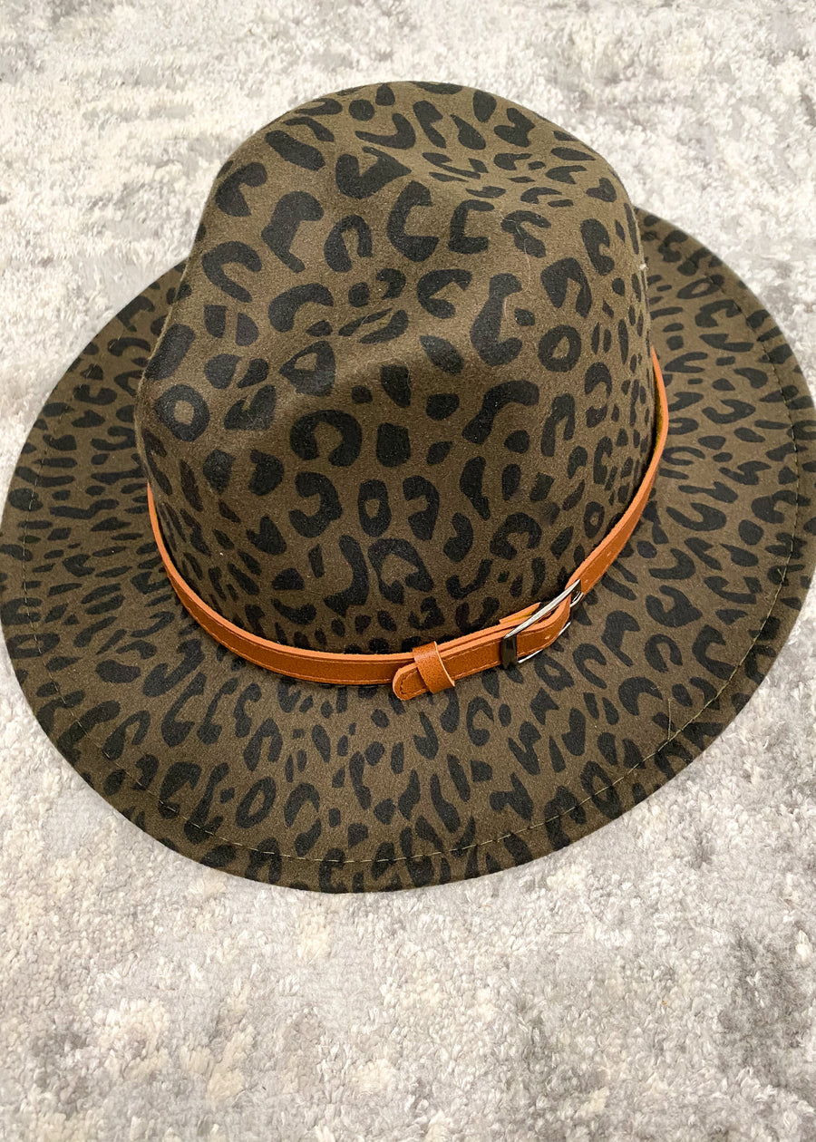Olive/Black Leopard Felt Hat with Buckle