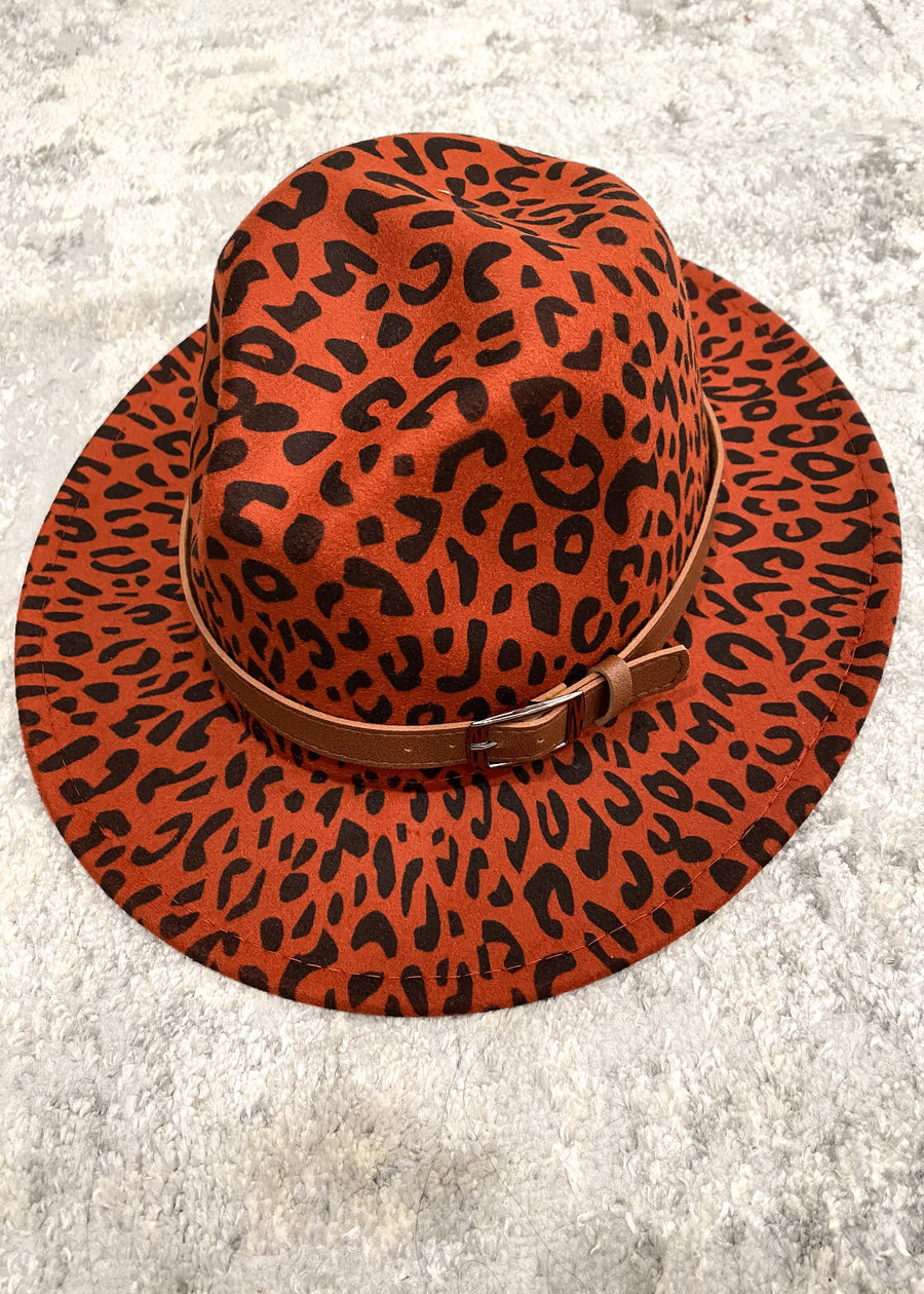 Red Orange Leopard Felt Hat with Buckle
