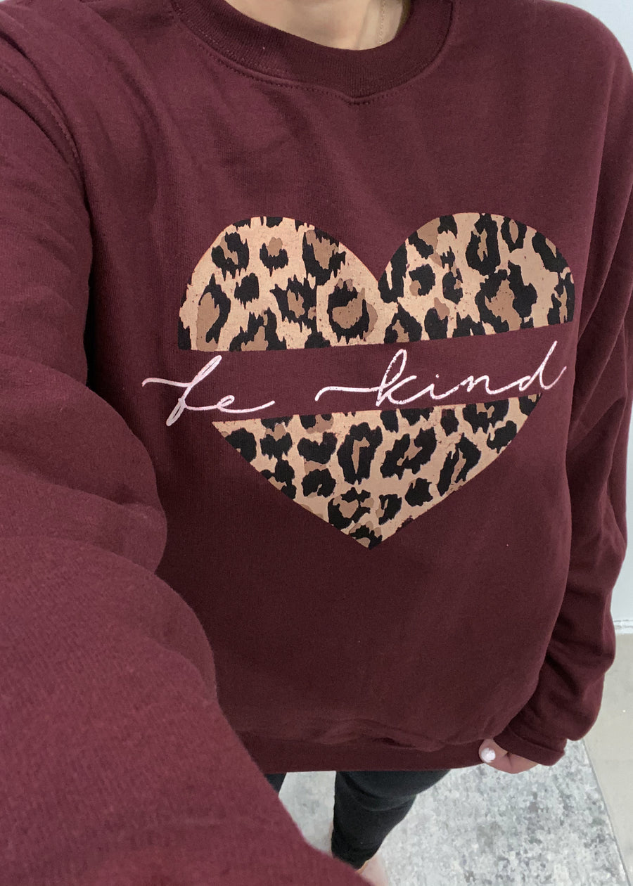 'Be Kind' Deep Burgundy Sweatshirt