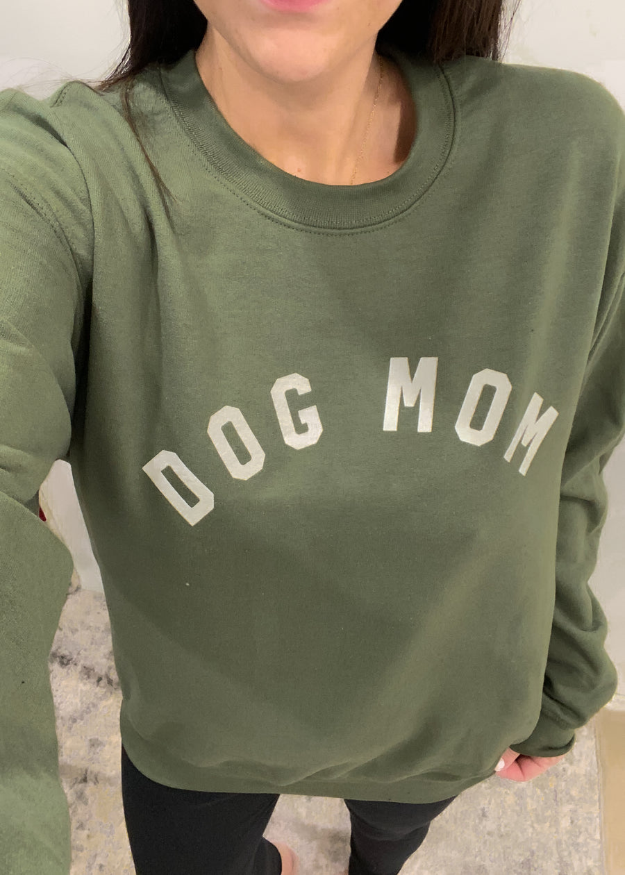 'Dog Mom' Military Green  Sweatshirt