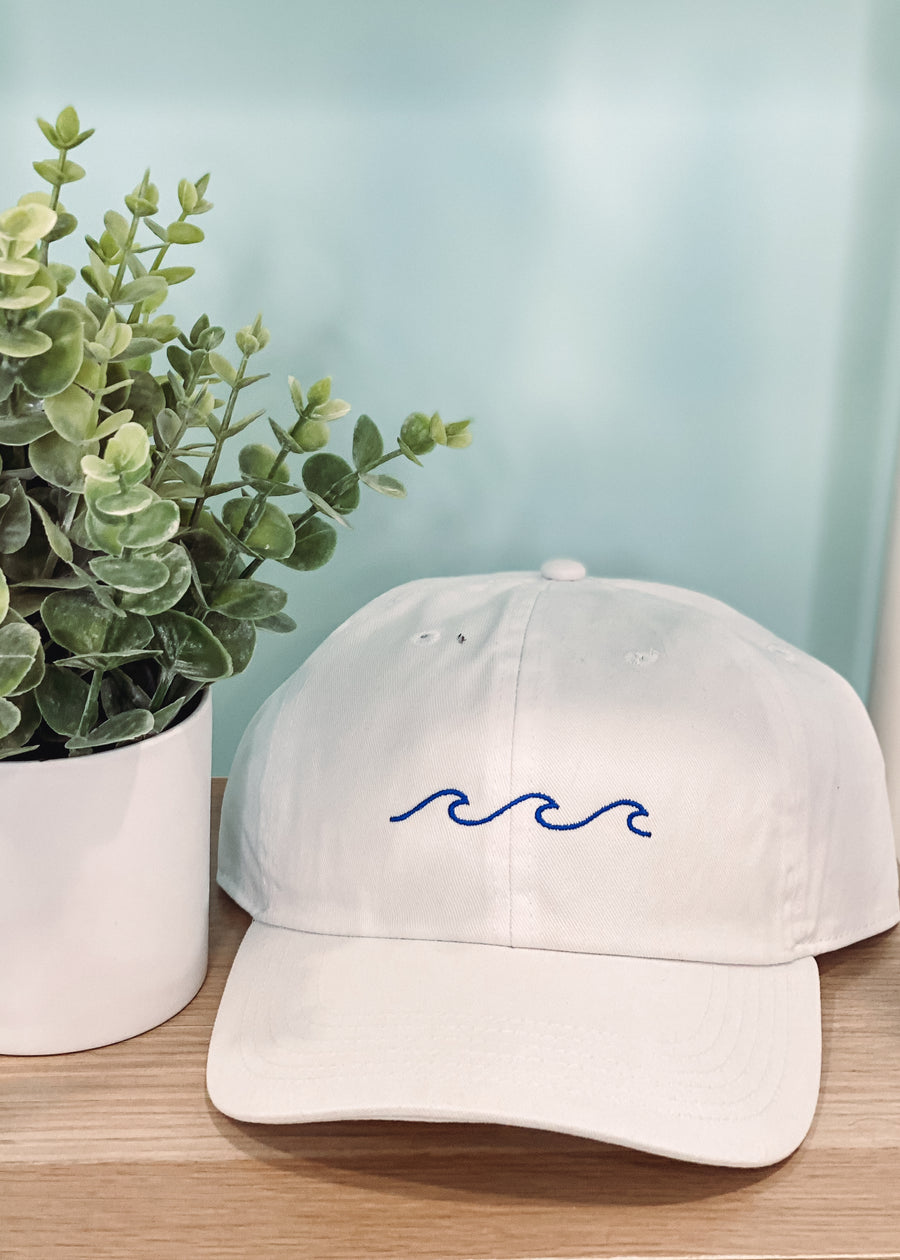 White Baseball Hat with Blue Waves-Cali Moon Boutique, Plainville Connecticut