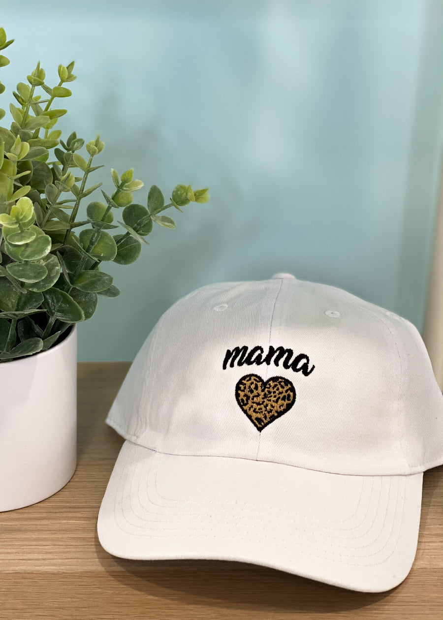 White Baseball Mama Hat with Leopard Heart-Cali Moon Boutique, Plainville Connecticut