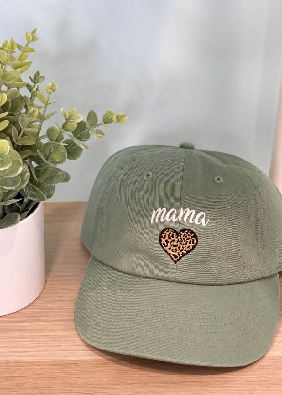 Sage Baseball Mama Hat with Leopard Heart-Cali Moon Boutique, Plainville Connecticut