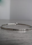 Silver 'Believe' Bangle