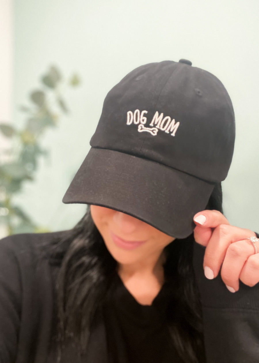 Dog Mom Black Baseball Hat-Cali Moon Boutique, Plainville Connecticut