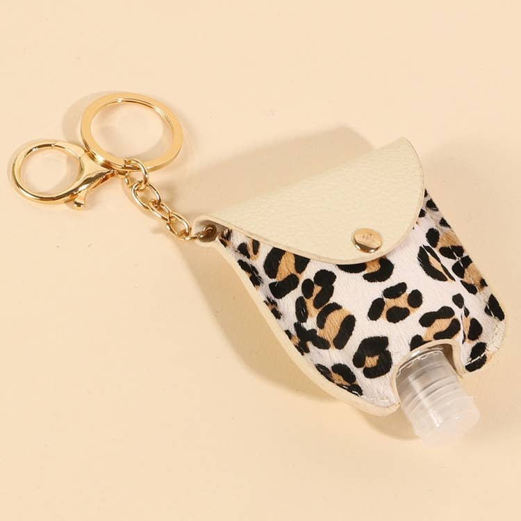 Leopard Mini Hand Sanitizer Holder & Keychain-Cali Moon Boutique, Plainville Connecticut