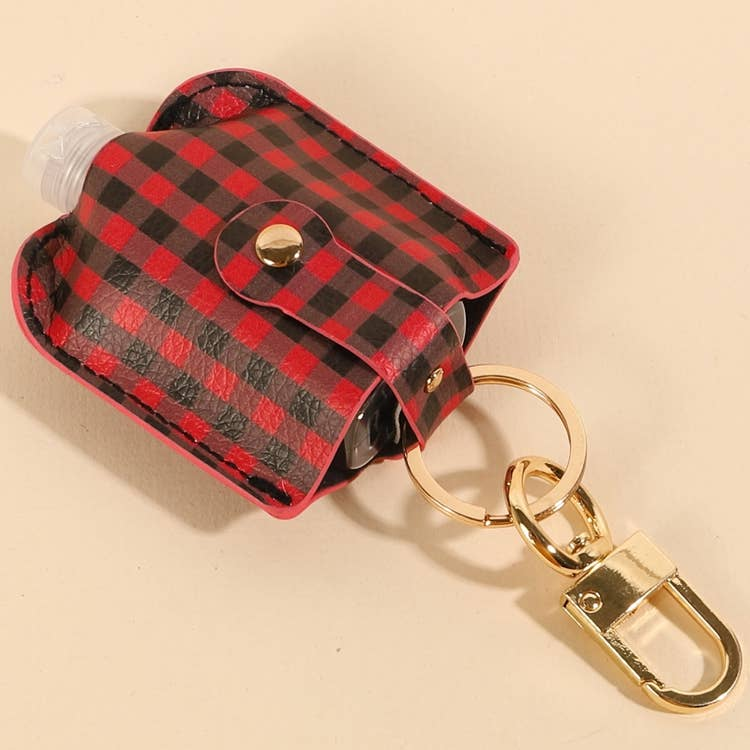 Gingham Hand Sanitizer Holder & Keychain