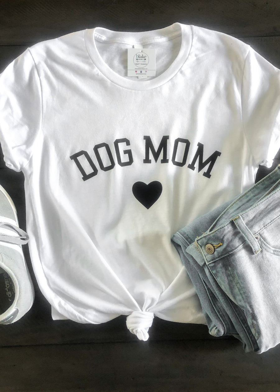 'Dog Mom' White Tee-Cali Moon Boutique, Plainville Connecticut