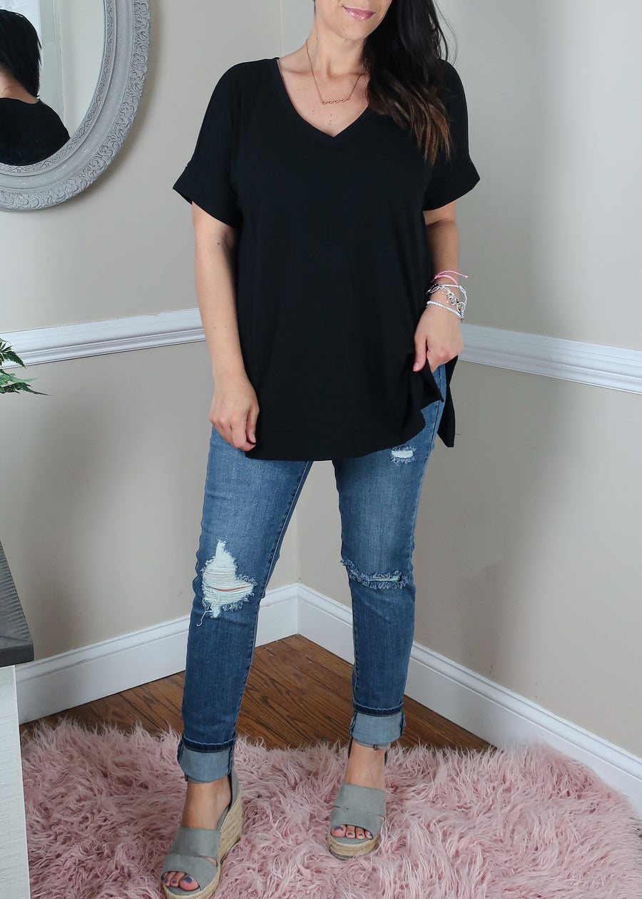 'Roll With It' Black Rolled Sleeve Boyfriend V-Neck Tee