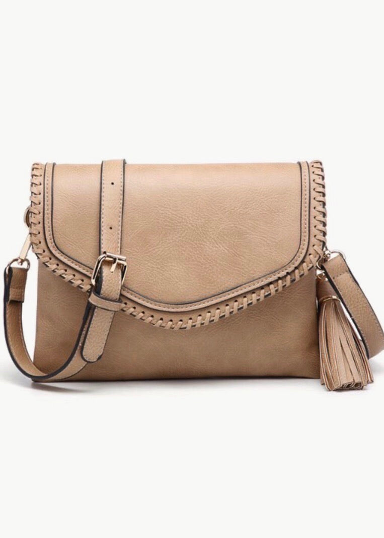 Mocha Faux Leather Whipstitch Crossbody Bag