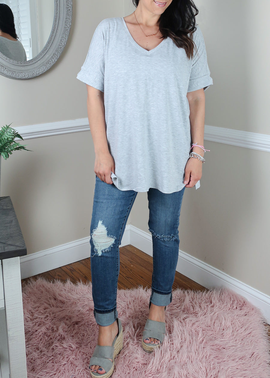 'Roll With It' Heather Gray Rolled Sleeve V-Neck Tee-Cali Moon Boutique, Plainville Connecticut