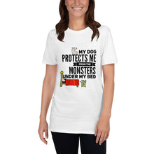 Dog protects me from the monsters under my bed cartoon Short-Sleeve Unisex T-Shirt