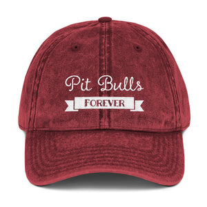 Pit Bulls Forever ribbon Vintage Cotton Twill Cap