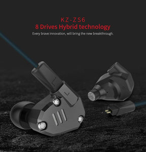 KZ ZS6  Hybrid Technology 8 Drives Headphones ,  High Fidelity Extra Bass 4 Dynamic And 4 Balanced Black with MIC - amazing7.shop
