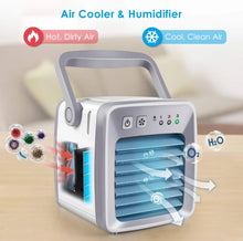 Small Air Conditioner, Mini Portable Air Cooler Fan Noiseless Evaporative Air Humidifier, Negative ion Air Cooling, Air Coolar, Air Purifier, 3 Gear Speed, Fast cooling with night light