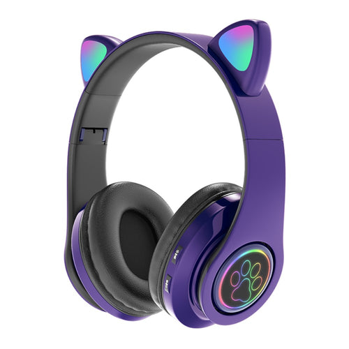 Amazing 7 Cat's Ears LED Bluetooth Headphones, Active Noise Cancelling Headphones, Wireless Headsets Over Ear, 8Hours Playtime, Hi-Fi Stereo, Deep Bass for Music Game DJ