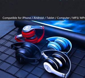P47 Bluetooth Headphones with 6Hours Playtime, Wireless Headsets Over Ear, Deep Bass Stereo, Built-in Mic, TF Card Insertion,Affordable Snug Fit Earphones for Game, Video Study