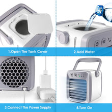 Small Air Conditioner, Mini Portable Air Cooler Fan Noiseless Evaporative Air Humidifier, Negative ion Air Cooling,  Air Coolar,  Air Purifier, 3 Gear Speed, Fast cooling with night light - amazing7.shop