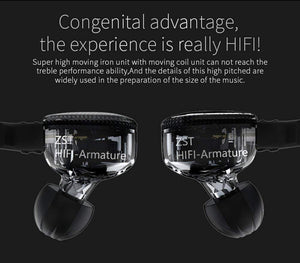 High Fidelity Headphones, Amazing 7 KZ ZST Earphone Dynamic Balanced Armature Hybrid Technology Earbuds Microphone in-The-Ear Headphones Genuine Hi-Fi Headsets (Black with MIC) - amazing7.shop