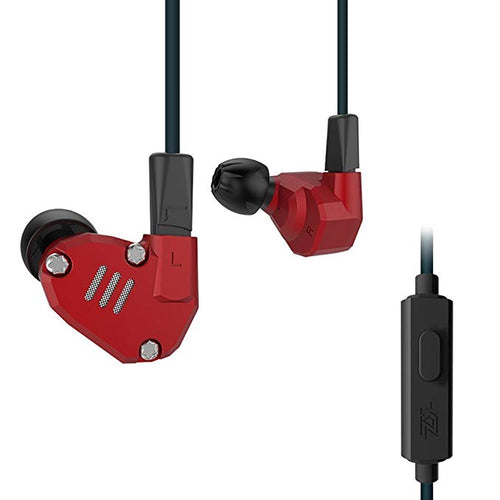 8 Drives Hybrid Technology Headphones , KZ ZS6 High Fidelity Extra Bass 4 Dynamic And 4 Balanced Red with MIC-Earphone-amazing7.shop