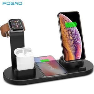 FDGAO 4 in 1 Wireless Charging Stand For Apple Watch 5 4 3 2 1 iPhone 11 X XS XR 8 Airpods Pro 10W Qi Fast Charger Dock Station - amazing7.shop