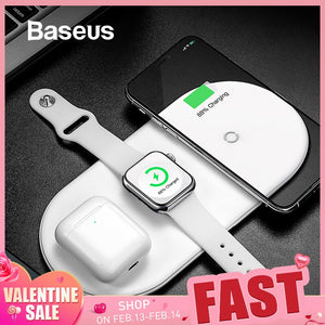 Baseus Wireless Charger For iPhone X XS MAX XR 8 Fast Wireless Full load 3 in 1 Charging Pad for Airpods 2019 Apple Watch 4 32 - amazing7.shop