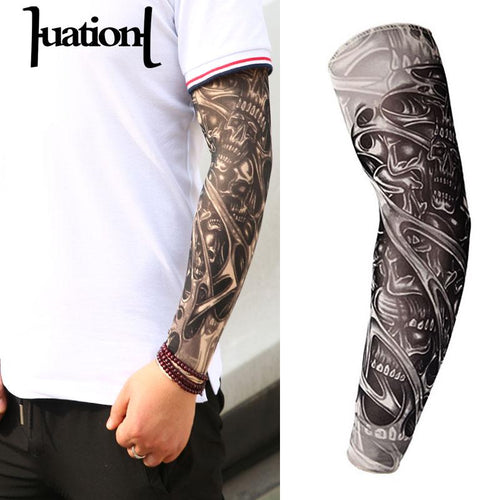 Huation New Fashion Tattoo Sleeves Arm Warmer Unisex UV Protection Outdoor Temporary Fake Tattoo Arm Sleeve Warmer Sleeve Mangas - amazing7.shop