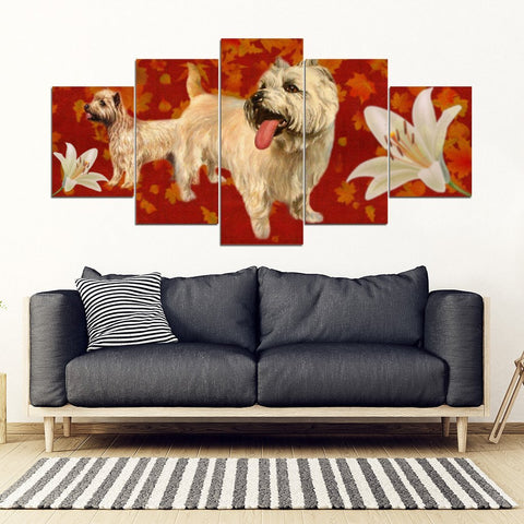 Cairn Terrier With White Lily Print-5 Piece Framed Canvas- Free Shipping