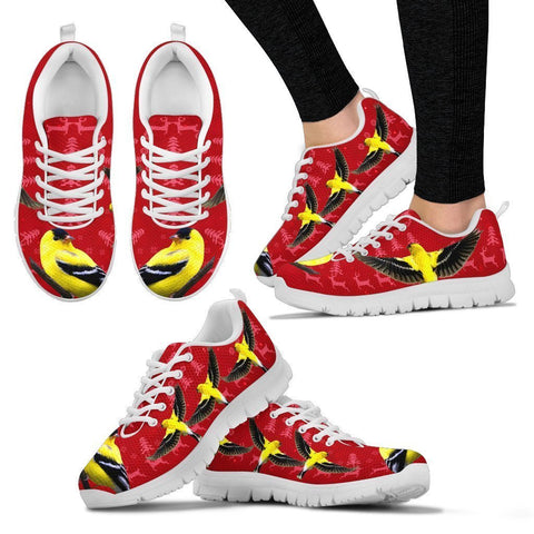 American Goldfinch Bird Christmas Running Shoes For Women- Free Shipping-Paww-Printz-Merchandise