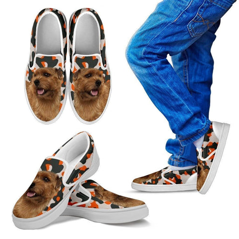 Norfolk Terrier Dog Print Slip Ons For Kids-Express Shipping