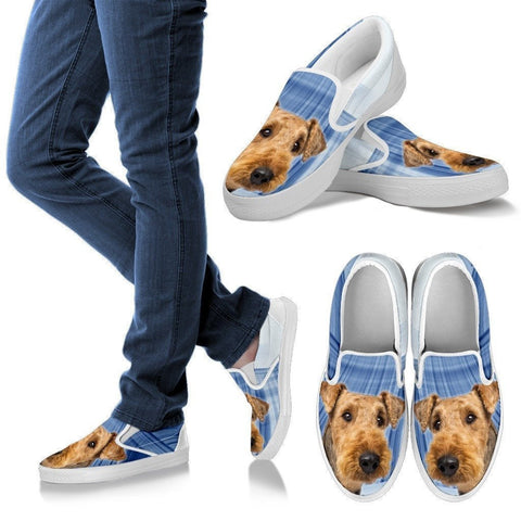 Airedale Terrier Print Slip Ons For Women- Express Shipping